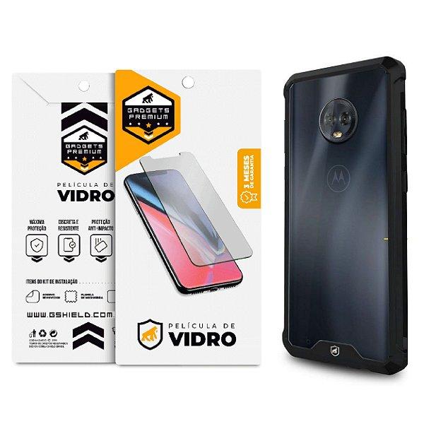 Kit Capa Ultra Slim Air Preta e Película de Vidro Dupla para Moto G6 - Gshield