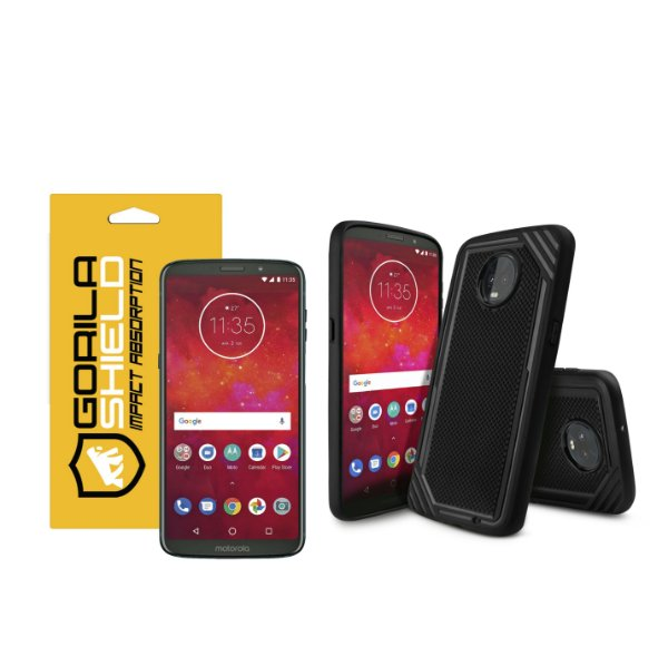 KIT CAPA TECH GRIP E PELÍCULA DE VIDRO DUPLA PARA MOTO Z3 PLAY - GORILA SHIELD