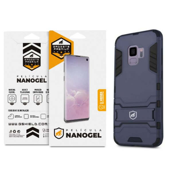 Kit Capa Armor e Película Nano Gel Dupla para Galaxy S9 - Gshield
