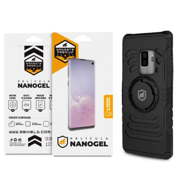 Kit Capa Armband e Película de Nano Gel Dupla Para Galaxy S9 Plus - Gshield