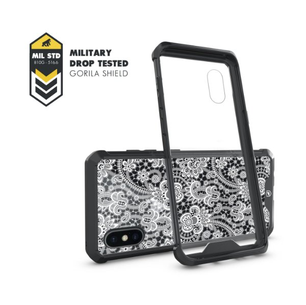 Capa Ultra Slim Preta Rendada para iPhone X - Gorila Shield