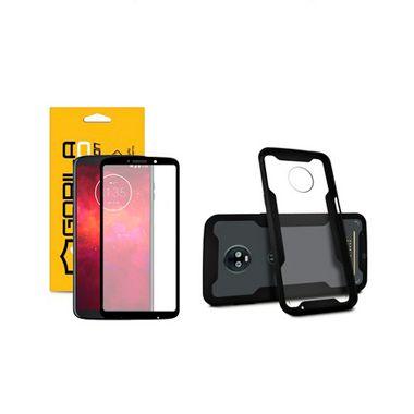 Kit Capa Dual Shock e Película Coverage Color Preta para Moto Z3 Play - Gorila Shield