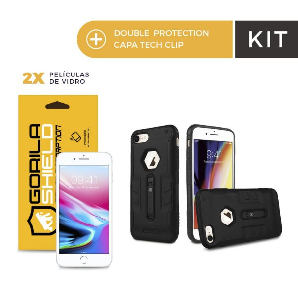 Kit Capa Tech Clip e Película de Vidro Dupla para Iphone 8 - Gorila Shield