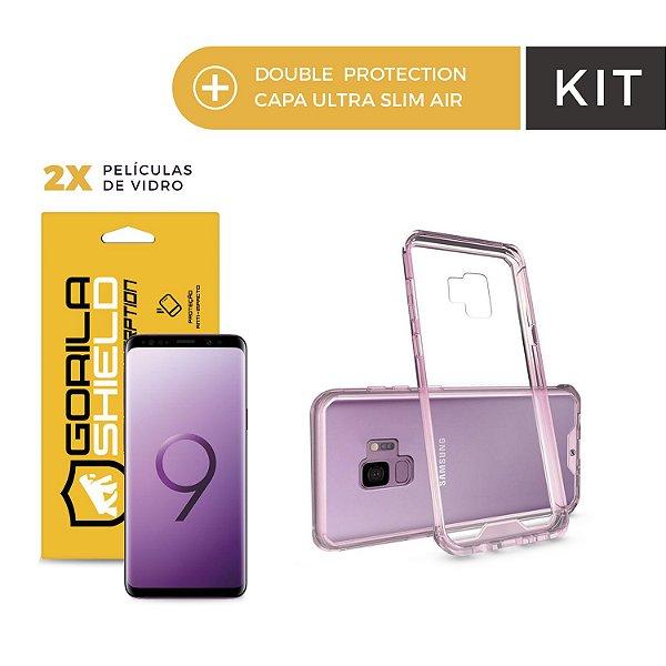 Kit Capa Ultra Slim Air Rosa e Película de Nano Gel Dupla para Galaxy S9 - Gorila Shield