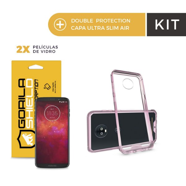 Kit Capa Ultra Slim Air Rosa e Película de Vidro Dupla para Moto Z3 Play - Gorila Shield