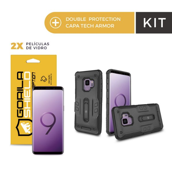 Kit Capa Tech Armor e Película de Nano Gel Dupla para Galaxy S9 - Gorila Shield
