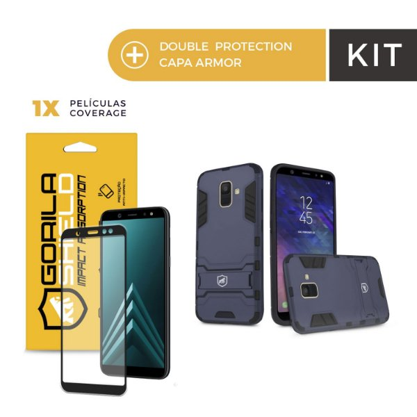 Kit Capa Armor e Película Coverage Color Preta para Galaxy A6 - Gorila Shield