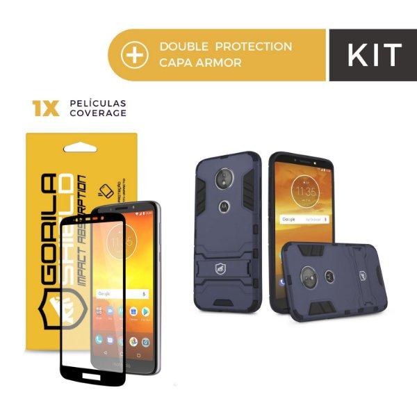 Kit Capa Armor e Película Coverage Color Preta para Moto E5 - Gorila Shield