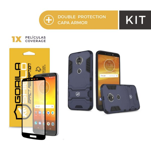 Kit Capa Armor e Película Coverage Color Preta para Moto E5 Plus - Gorila Shield