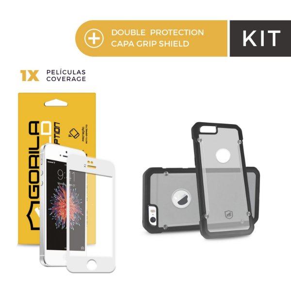 Kit Capa Grip Shield e Película Coverage Color Branca para Iphone 6s - Gorila Shield