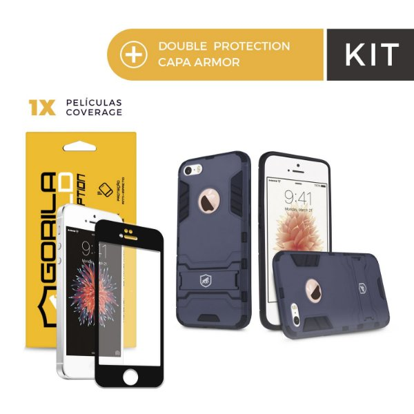 Kit Capa Armor e Película Coverage Color Preta para Iphone 6s - Gorila Shield