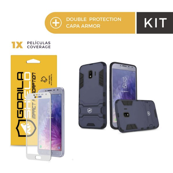 Kit Capa Armor e Película Coverage Color Branca para Galaxy J6 - Gorila Shield