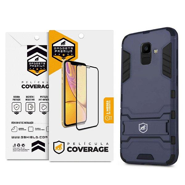 Kit Capa Armor e Película Coverage 5D Pro Preta para Galaxy J6 - Gshield