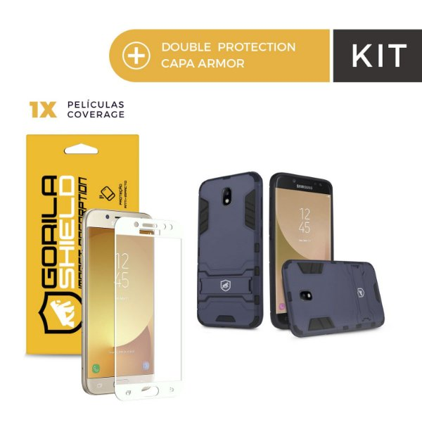 Kit Capa Armor e Película Coverage Color Branca para Galaxy J7 Pro - Gorila Shield