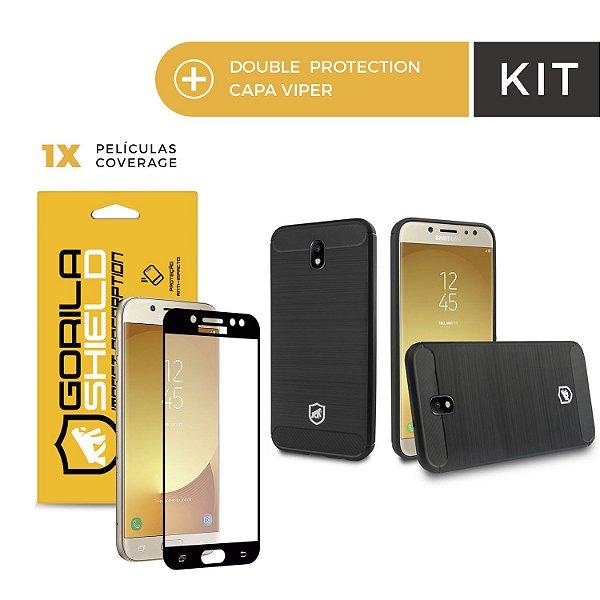 Kit Capa Viper e Pelicula Coverage Color Preta para Galaxy J7 Pro - Gorila Shield