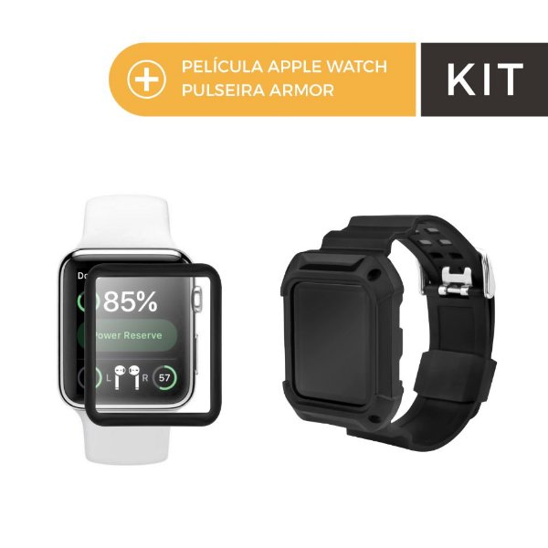 Kit Pelicula de Nano Gel Dupla com Bordas Pretas e Pulseira Armor para Apple Watch 38mm - Gorila Shield