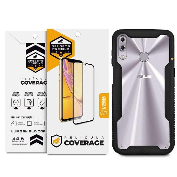 Kit Capa Dual Shock e Película Coverage 5D Pro Preta para Zenfone 5 e 5z - Gshield