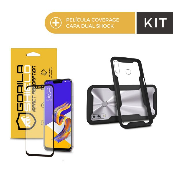Kit Capa Dual Shock e Película Coverage Color Preta para Zenfone 5 e 5z - Gorila Shield