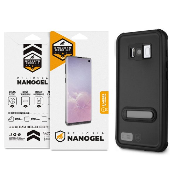 Kit Capa à Prova D'água e Película Nano Gel Dupla para Galaxy S8 - Gshield