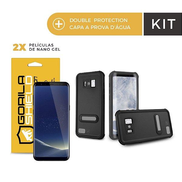 Kit Capa á Prova D'água e Película Nano Gel Dupla para Galaxy S8 Plus - Gorila Shield