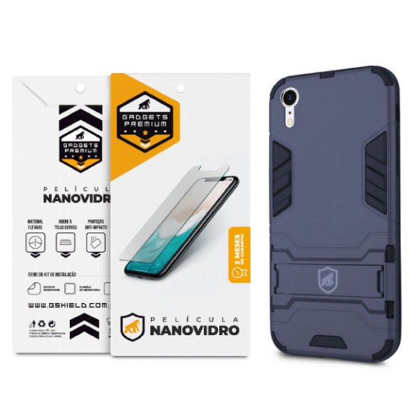 Kit Capa Armor e Película Nano Vidro para iPhone XR - Gshield