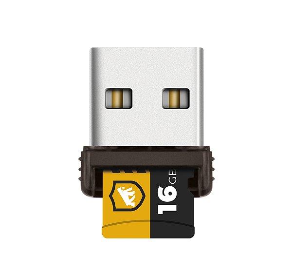 Cartão de Memória Turbo 16GB U1 + Adaptador Pendrive Nano Slim + Adaptador SD - Gshield