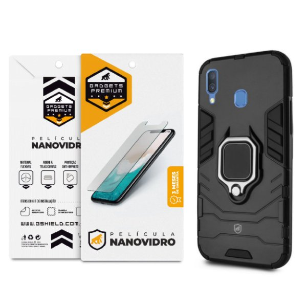 Kit Capa Defender Black e Película Nano Vidro para Samsung Galaxy A20 - Gshield