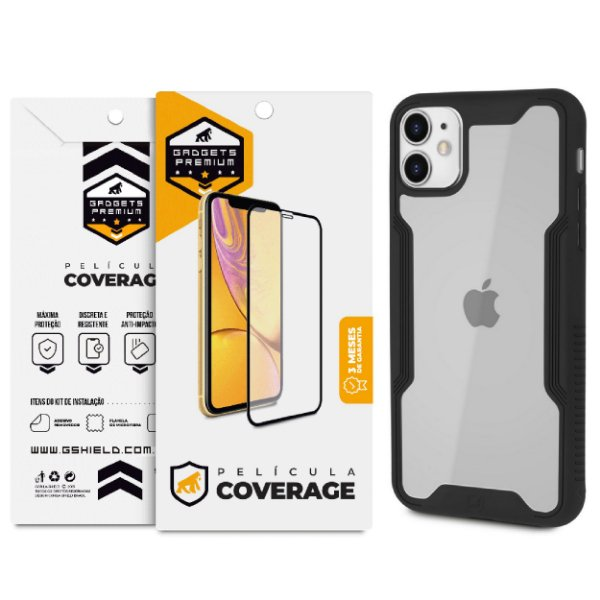 Kit Capa Dual Shock e Película Coverage Color para iPhone 11- Gshield