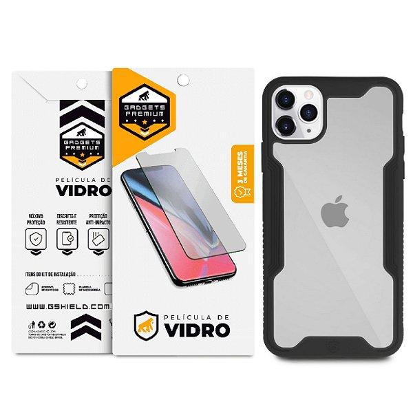 Kit Capa Dual Shock e Película Vidro Dupla para iPhone 11 Pro - Gshield