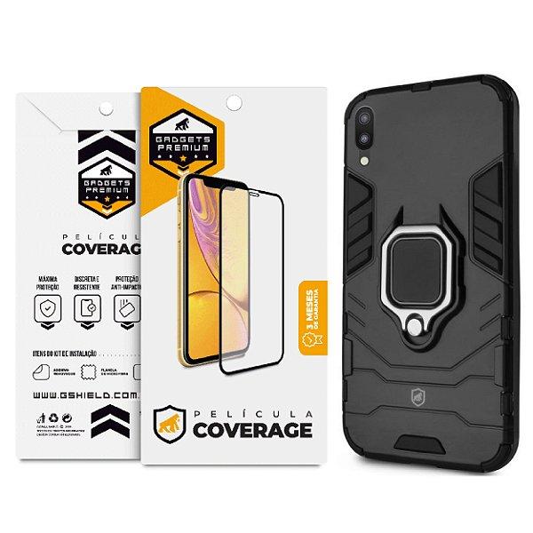 Kit Capa Defender Black e Película Coverage 5D Pro Preta para Samsung Galaxy M10 - GShield