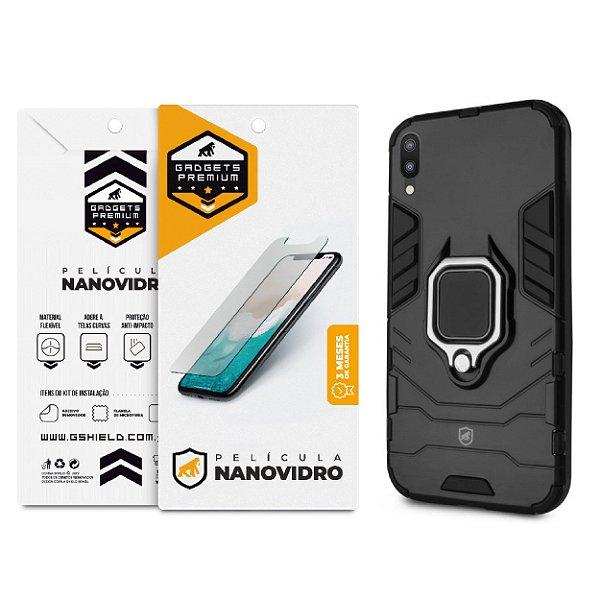 Kit Capa Defender Black e Película de Nano Vidro para Samsung Galaxy M10 - GShield