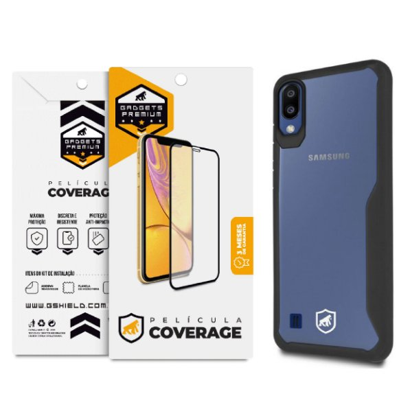 Kit Capa Atomic Preta e Película Coverage Color para Samsung Galaxy M10 - GShield