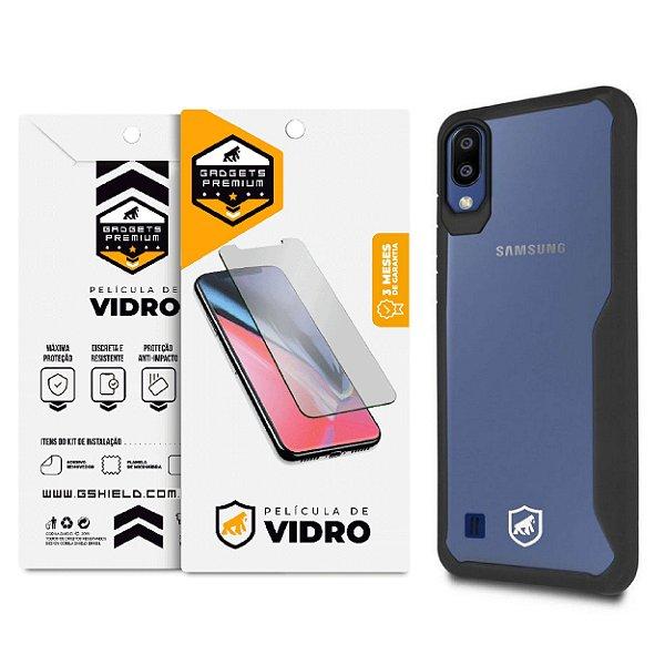 Kit Capa Atomic Preta e Película de Vidro Dupla para Samsung Galaxy M10 - GShield