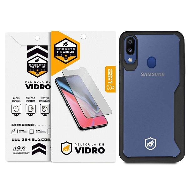 Kit Capa Atomic Preta e Película de Vidro Dupla para Samsung Galaxy M20 - GShield