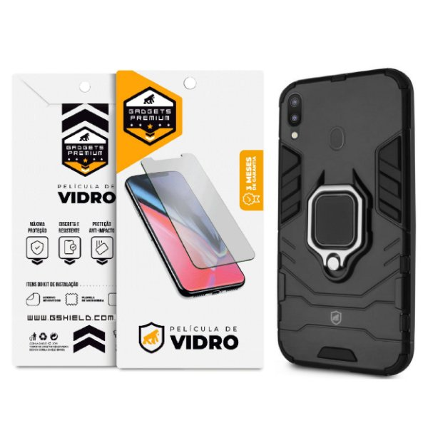 Kit Capa Defender Black e Película de Vidro Dupla para Samsung Galaxy M20 - GShield