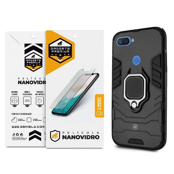 Kit Capa Defender Black e Película de Nano Vidro para Xiaomi Mi 8 Lite - GShield