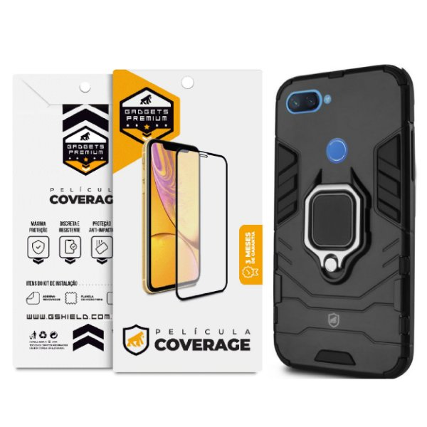 Kit Capa Defender Black e Película Coverage Color para Xiaomi Mi 8 Lite - GShield
