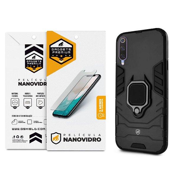Kit Capa Defender Black  e Película De Nano Vidro Para Xiaomi Mi 9 SE  - GShield
