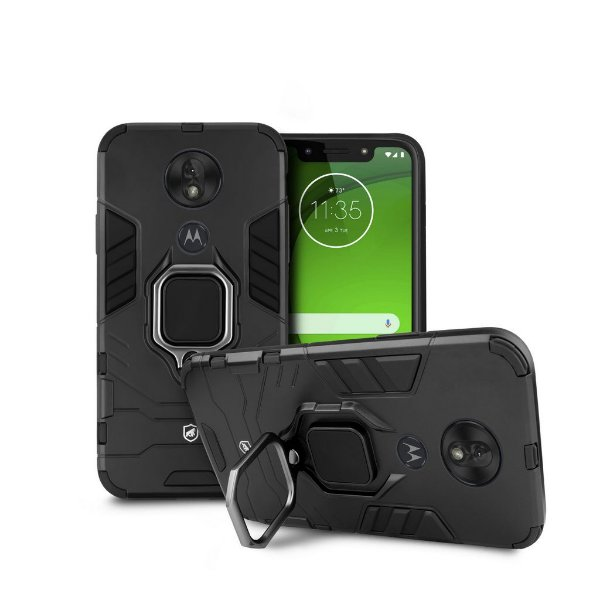 Kit Capa Defender Black e Película de Vidro Dupla para Motorola Moto G7 Play - GShield