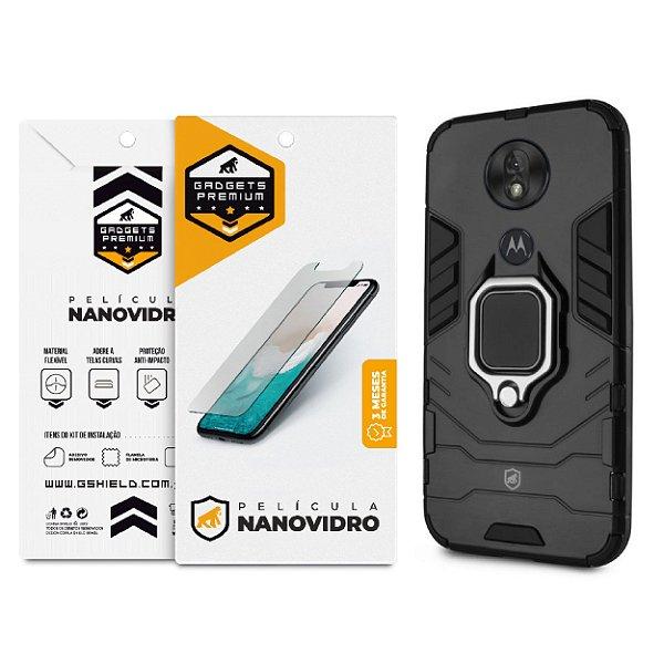 Kit Capa Defender Black e Película de Nano Vidro para Motorola Moto G7 Power - GShield