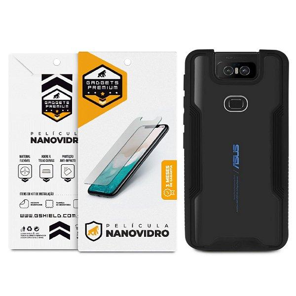 Kit Capa Dual Shock e Película Nano Vidro para Zenfone 6 - GShield