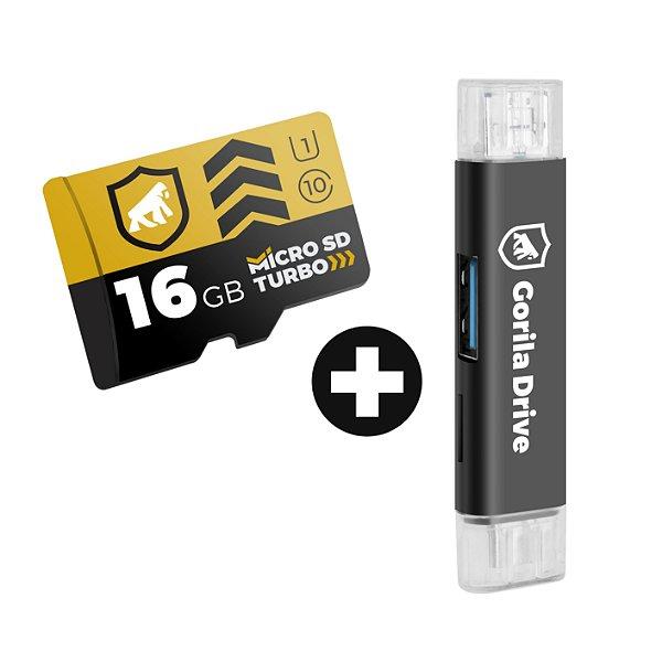 Kit Cartão de Memória 16GB Turbo U1 + Adaptador Pendrive OTG Micro USB - GShield