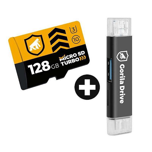 Kit Cartão de Memória Turbo 128GB U3 + Adaptador Pendrive OTG Micro USB - GShield