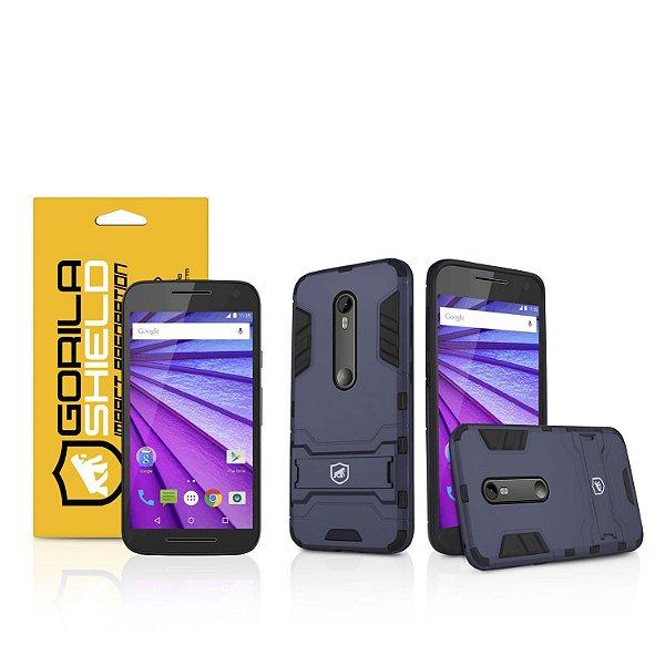 Kit Capa Armor e Película de vidro dupla para Motorola Moto G3 - Gorila Shield