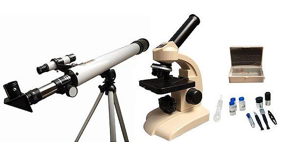 KIT DIDATICO COM MICROSCOPIO BIOLOGICO MONOCULAR DE 400X E TELESCOPIO ASTRONOMICO