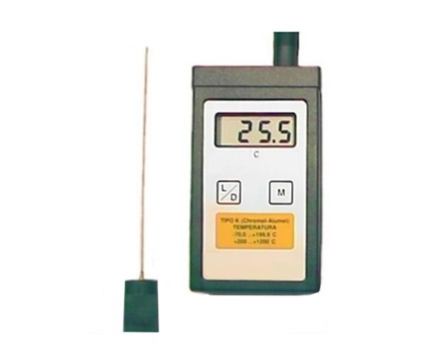TERMOMETRO DIGITAL -70+1200ºC AUTOMATICO COM SONDA IMERSAO 3X300MM TIPO K 1MT