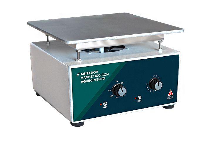 AGITADOR MAGNETICO ANALOGICO COM AQUECIMENTO 10L 3000RPM 220V