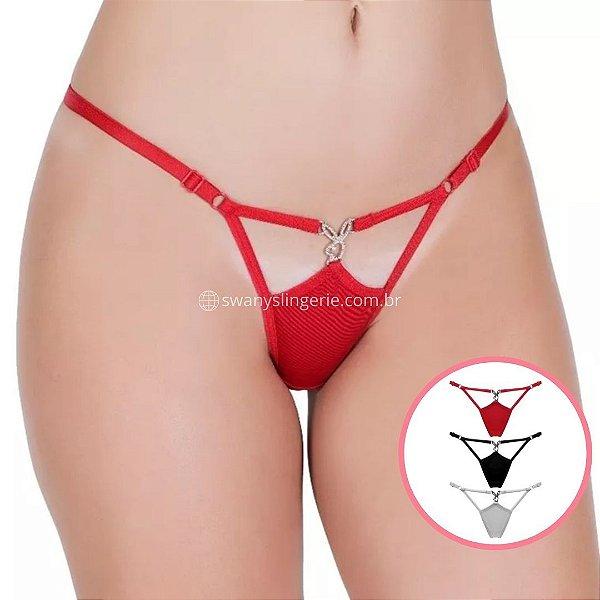 Calcinha Fio Dental Playboy Kit com 3