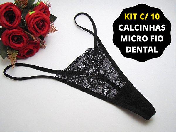 Kit 10 Calcinhas Micro Fio Dental em Atacado