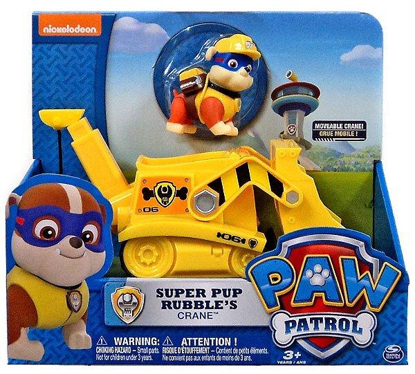 Patrulha Canina - Boneco com Veículo Super Pup Rubble's Crane